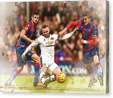 Wayne Rooney Shoots At Goal Canvas Print by Don Kuing