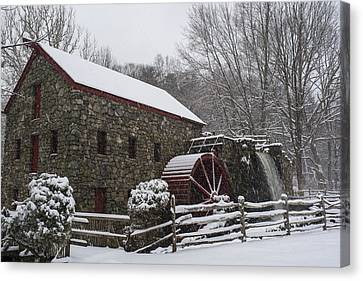Wayside Inn Grist Mill Covered In Snow Fence Canvas Print by Toby McGuire