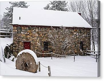 Wayside Inn Grist Mill Covered In Snow Millstone Canvas Print by Toby McGuire