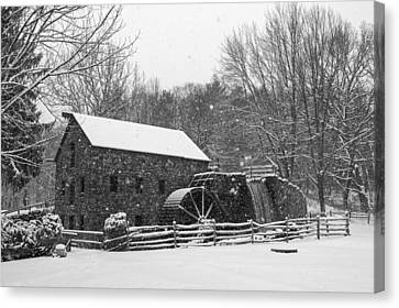 Wayside Inn Grist Mill Covered In Snow Storm Black And White Canvas Print by Toby McGuire