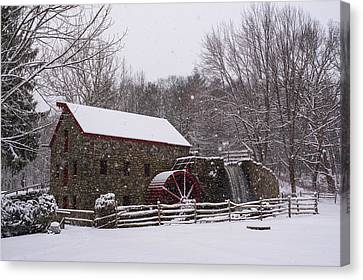Wayside Inn Grist Mill Covered In Snow Storm Canvas Print by Toby McGuire