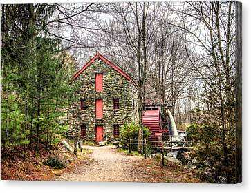 Wayside Inn Grist Mill Canvas Print by Monica Wellman