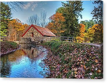 Wayside Inn Grist Mill Stream Sudbury Ma Canvas Print by Toby McGuire