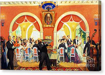 Wedding Feast, 1917 Canvas Print by Boris Mikhailovich Kustodiev