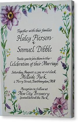 Wedding Invitation Canvas Print by Valerie Bassett