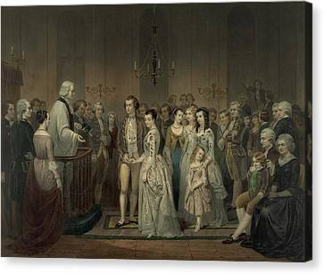 Wedding Of George Washington And Martha Canvas Print by Everett