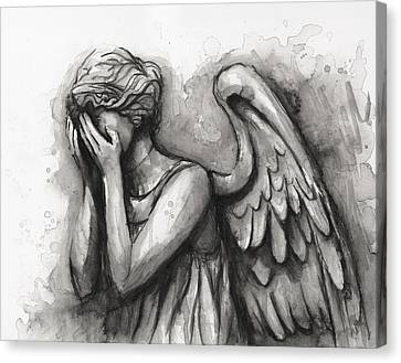 Weeping Angel Watercolor Canvas Print by Olga Shvartsur