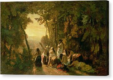 Weeping Of The Daughter Of Jephthah Canvas Print by Narcisse Virgile Diaz de la Pena