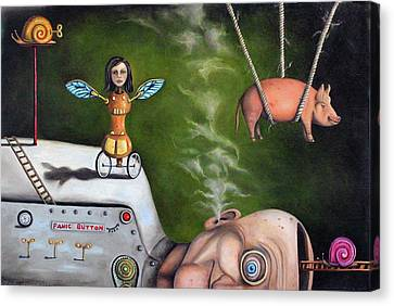 Weird Science-the Robot Factory Canvas Print by Leah Saulnier The Painting Maniac