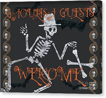 Welcome Ghoulish Guests Canvas Print by Debbie DeWitt