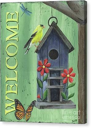 Welcome Goldfinch Canvas Print by Debbie DeWitt