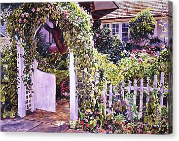 Welcome Rose Covered Gate Canvas Print by David Lloyd Glover