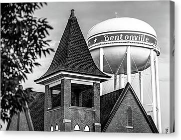 Welcome To Bentonville Arkansas Black And White Canvas Print by Gregory Ballos
