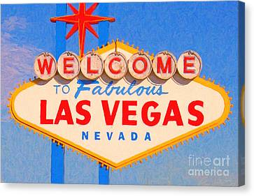 Welcome To Fabulous Las Vegas Nevada Canvas Print by Wingsdomain Art and Photography