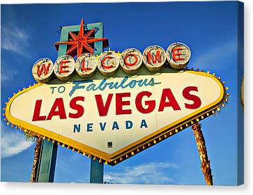 Welcome To Las Vegas Sign Canvas Print by Garry Gay