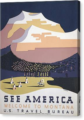 Welcome To Montana - See America Wpa Canvas Print by War Is Hell Store