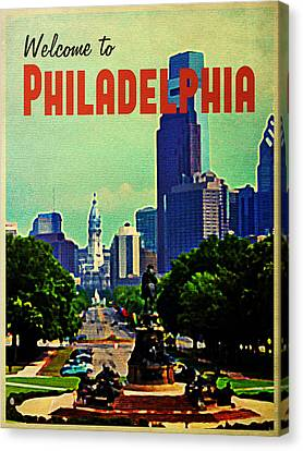 Welcome To Philadelphia Canvas Print by Flo Karp