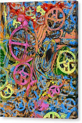 Welcome To The Machine Pink Orange Canvas Print by Tony Rubino