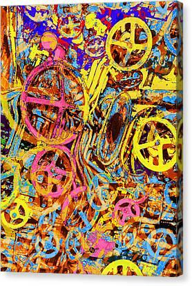Welcome To The Machine Yellow Canvas Print by Tony Rubino