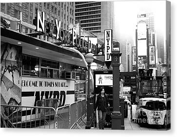 Welcome To Times Square Nypd Canvas Print by John Rizzuto