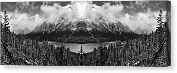Wenatchee National Forest Black And White Reflection Canvas Print by Pelo Blanco Photo