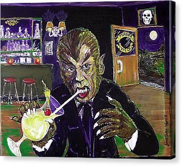 Werewolf Drinking A Pina Colada At Trader Vic's Canvas Print by Jonathan Morrill