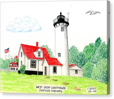 West Chop Lighthouse Canvas Print by Frederic Kohli