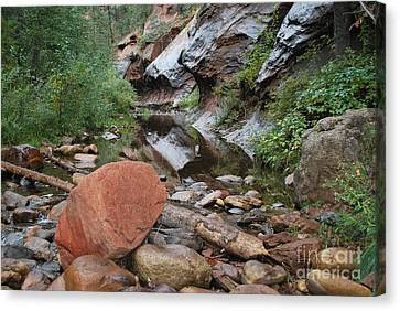 West Fork Trail River And Rock Horizontal Canvas Print by Heather Kirk