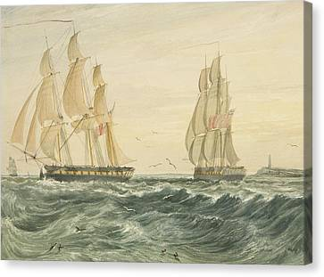 West Indiaman Ann Off Flat Holm Canvas Print by Thomas Leeson the Elder Rowbotham