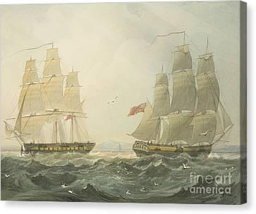West Indiaman Union And Ann Coming Up The Bristol Channel Canvas Print by Thomas Leeson the Elder Rowbotham