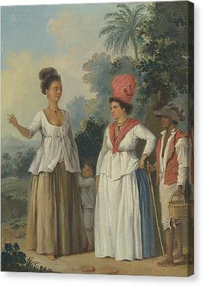 West Indian Women Of Color, With A Child And Black Servant Canvas Print by Agostino Brunias
