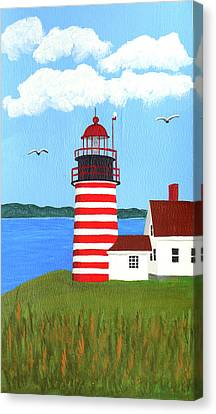 West Quoddy Head Lighthouse Painting Canvas Print by Frederic Kohli