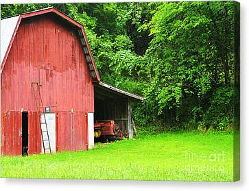 West Virginia Barn And Baler Canvas Print by Thomas R Fletcher