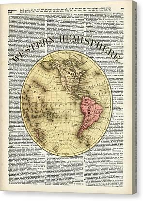 Western Hemisphere Earth Map  Canvas Print by Jacob Kuch