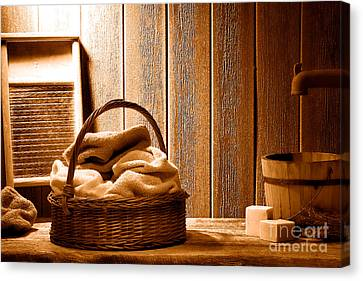 Western Laundromat - Sepia Canvas Print by Olivier Le Queinec