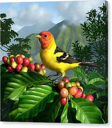 Western Tanager Canvas Print by Jerry LoFaro
