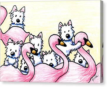 Westie Flamingo Dancers Canvas Print by Kim Niles