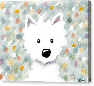 Westie Floral Impression Canvas Print by Kim Niles