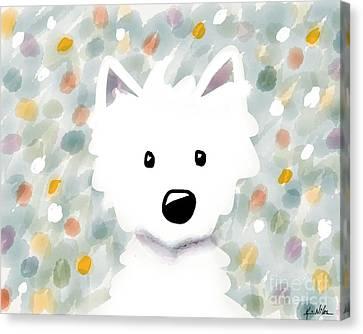 Westie Floral Impression Canvas Print by Kim Niles