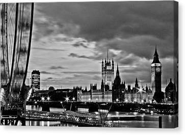Westminster Black And White Canvas Print by Dawn OConnor