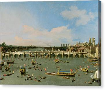 Westminster Bridge - London Canvas Print by Giovanni Antonio Canaletto