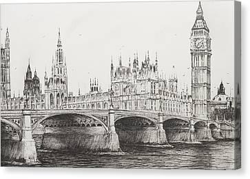 Westminster Bridge Canvas Print by Vincent Alexander Booth