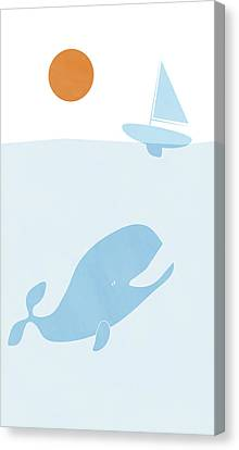 Whale And Boat Canvas Print by Frank Tschakert