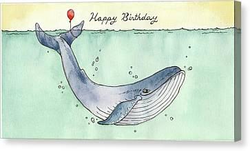 Whale Happy Birthday Card Canvas Print by Katrina Davis