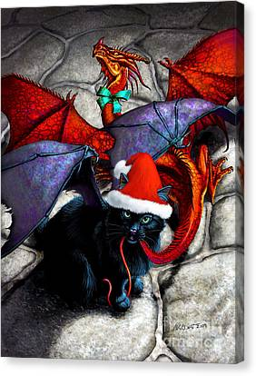 What The Catabat Dragged In For Christmas  Card Canvas Print by Stanley Morrison