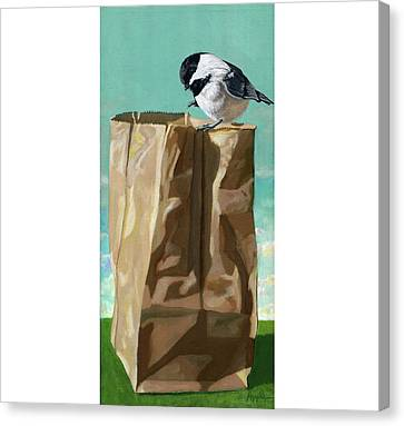 What's In The Bag Original Painting Canvas Print by Linda Apple