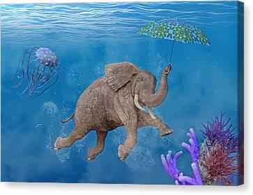 When Elephants Swim Canvas Print by Betsy Knapp