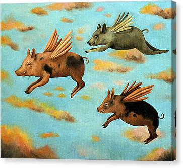When Pigs Fly Canvas Print by Leah Saulnier The Painting Maniac