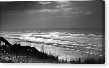 When Silver Dances Upon The Sea Canvas Print by Karen Wiles