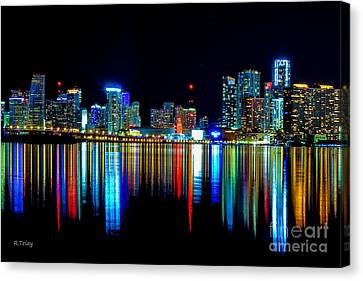 When The Miami City Lights Hit The Bay Waters Canvas Print by Rene Triay Photography